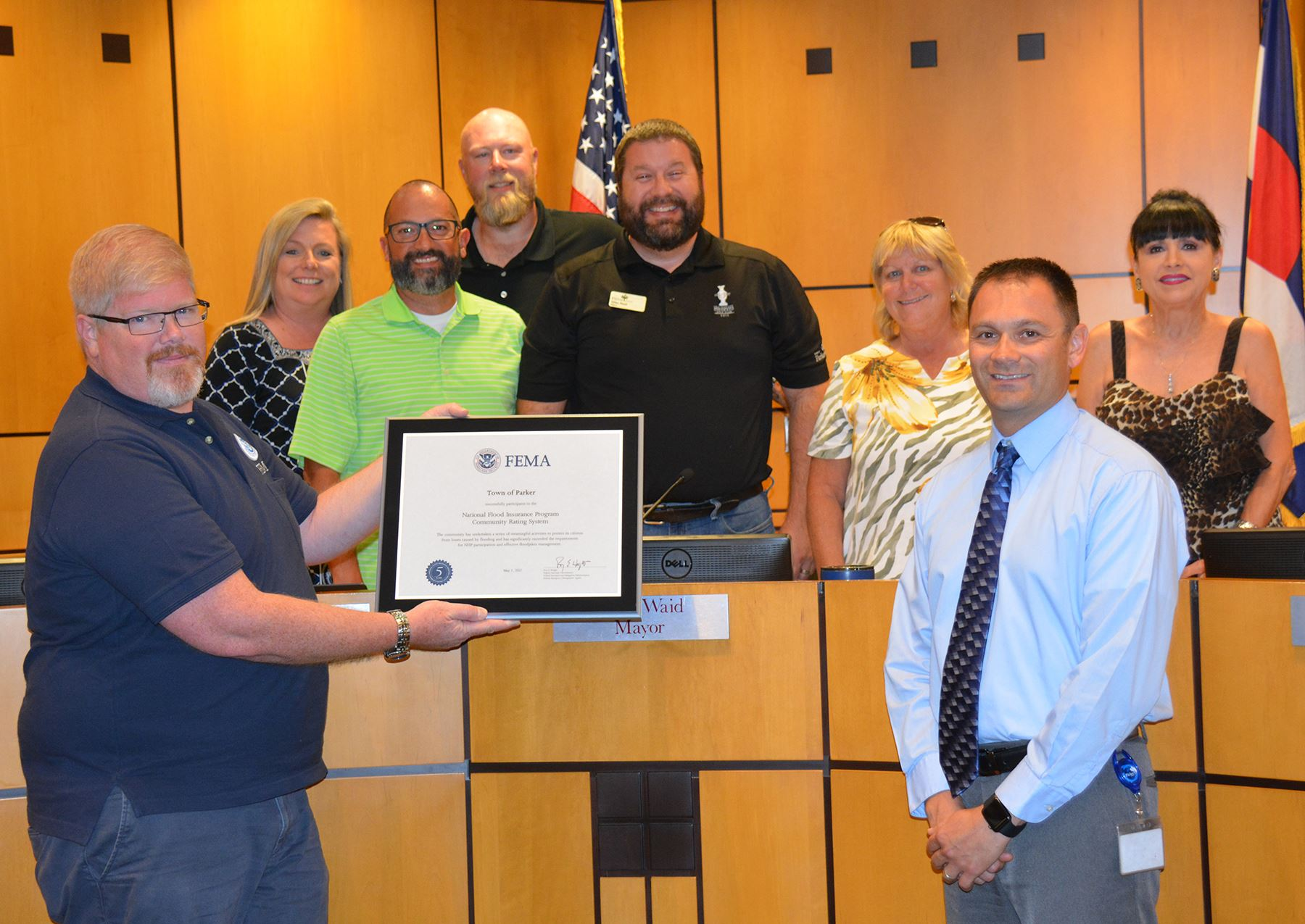 Town Council receiving a floodplain management award from FEMA.